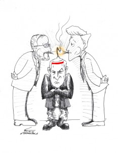 "Cartoon titled: ""Fuming Netanyahu"" By Iranian American Cartoonist, Kaveh Adel 2015©KavehAdel.com"