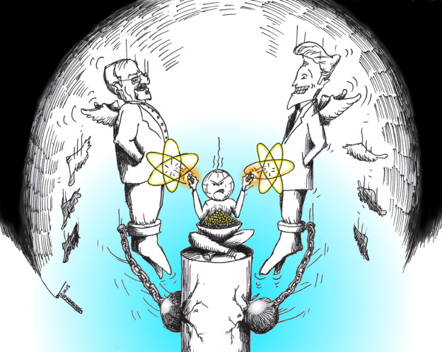 "Cartoon titled: ""Nuclear Seeds of Deadlines""  By Iranian American Cartoonist, Kaveh Adel  2015©KavehAdel.com"