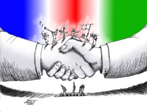 "Cartoon titled: ""The Agreement"" By Iranian American Cartoonist, Kaveh Adel 2015©KavehAdel.com"