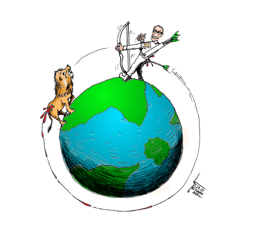 "Cartoon titled: ""Cecil the Lion Karma""  By Iranian American Cartoonist, Kaveh Adel  2015©KavehAdel.com"