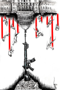 "Cartoon titled: ""Assault Monument""  By Iranian American Cartoonist, Kaveh Adel  2015©KavehAdel.com"