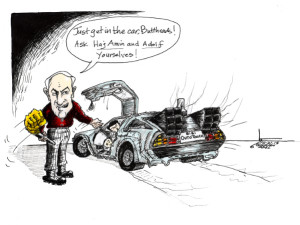 "Cartoon titled: ""Back to the Bibi""  By Iranian American Cartoonist, Kaveh Adel  2015©KavehAdel.com"