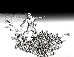 "Cartoon titled: ""Futmale"" By Iranian American Cartoonist, Kaveh Adel 2015©KavehAdel.com"