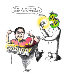 "Cartoon titled: ""Free Market Enema for Shkreli""  By Iranian American Cartoonist, Kaveh Adel"