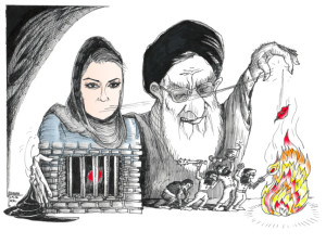 "Cartoon ""Fire of Dangerous Words"" for Hila Sedighi By Iranian American Cartoonist, Kaveh Adel 2016©KavehAdel.com"