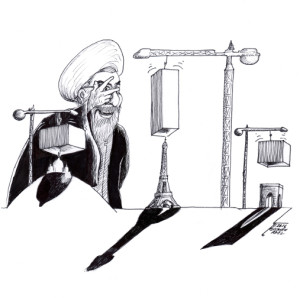 "Cartoon titled: ""Rouhani in Europe"" By Cartoonist, Kaveh Adel"