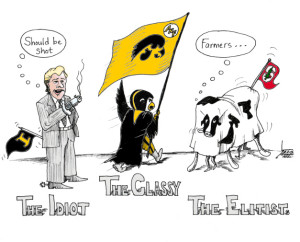 Cartoon True Iowa Spirit by Iranian Iowan American Cartoonist Kaveh Adel