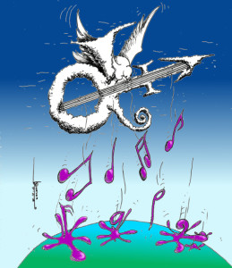 """Doves, Let the Purple Notes Rain "" By Cartoonist, Kaveh Adel"