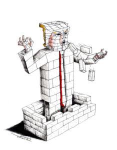"Cartoon ""Walled in"" By Cartoonist, Kaveh Adel 2018©KavehAdel.com"