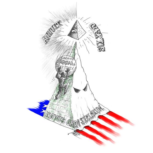 "Cartoon titled: ""American Racisyphus"" By Cartoonist, Kaveh Adel2020©KavehAdel.com"